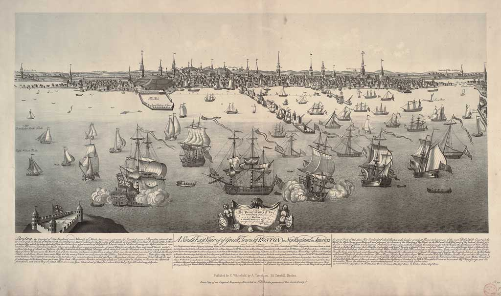 "Edwin Whitefield, after William Burgis, ""A South East View of ye Great Town of Boston in New England in America, 1848. Tinted lithograph. Boston: published for Edwin Whitefield by A. Thompson. Gift of Josiah Quincy. Jr., 1848."