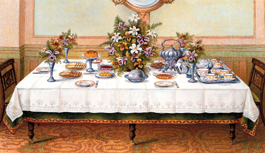 Tea Table, from the 1907 edition of Mrs. Beeton's Book of Household Management, bequest of The Hon. george A.P.H. Duncan, Earl of Camperdown, 1935.