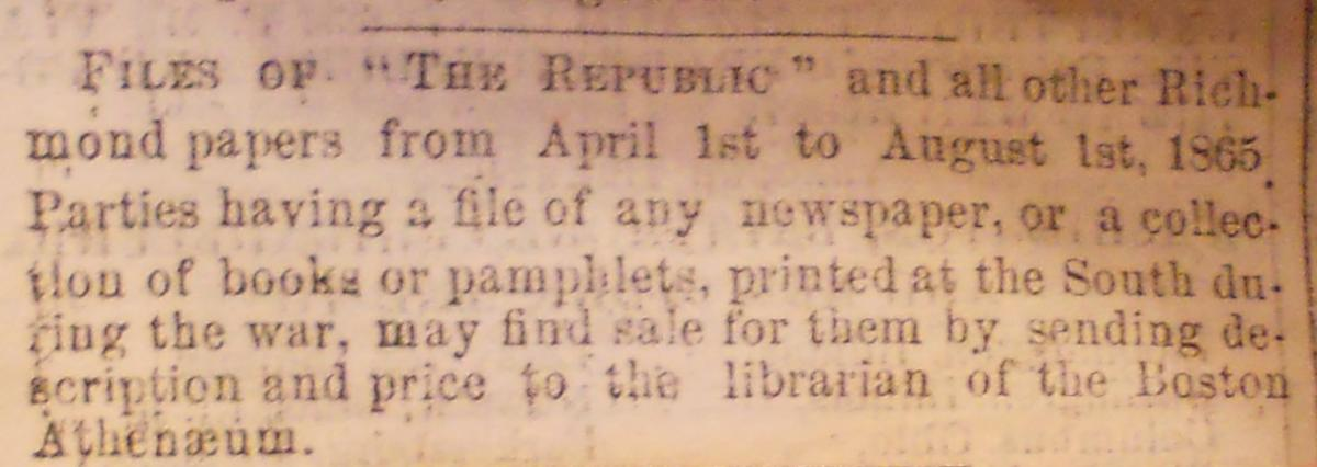 Boston Athenaeum Advertisement in The Republic, Richmond VA. 1865 September 16.