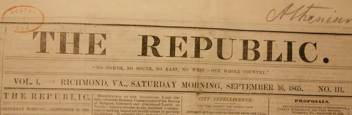 The Republic, Richmond VA. 1865 September 16.