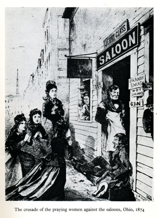 The crusade of the praying women against the saloons, Ohio, 1874.