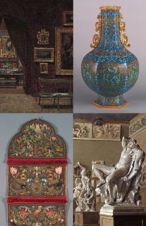 Enrico Meneghelli (1853–after 1912), Picture Gallery of the Boston Athenæum (detail), 1876. Athenæum  purchase, 1876; Cloisonné vase, Chinese, Qianlong era (1735–1796). Athenæum purchase, 1875; Letter pouch (detail), Italian,  17th century. Athenæum purchase, 1876; Enrico Meneghelli, Hall of the Maidens, Museum of Fine Arts, Boston, at Copley Square,  with Casts from the Boston Athenæum (detail), 1899. Athenæum purchase, 1998